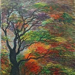coloured forest, 14 x 18 inch, giridharan p,14x18inch,canvas board,paintings,nature paintings | scenery paintings,paintings for dining room,paintings for living room,paintings for bedroom,paintings for office,paintings for hotel,acrylic color,GAL02788139672