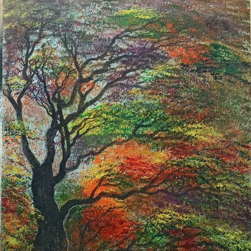 coloured forest, 14 x 18 inch, giridharan p,14x18inch,canvas board,paintings,nature paintings   scenery paintings,paintings for dining room,paintings for living room,paintings for bedroom,paintings for office,paintings for hotel,acrylic color,GAL02788139672