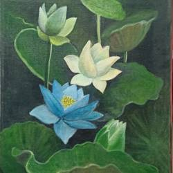 blue lotus, 14 x 18 inch, giridharan p,14x18inch,canvas board,flower paintings,paintings for dining room,paintings for living room,paintings for bedroom,paintings for office,paintings for dining room,paintings for living room,paintings for bedroom,paintings for office,acrylic color,GAL02788139673