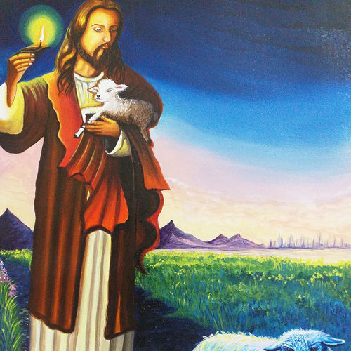 jesus the shephard with his sheep, 18 x 24 inch, sandhya kumari,18x24inch,canvas,paintings,abstract paintings,figurative paintings,flower paintings,landscape paintings,religious paintings,still life paintings,portrait paintings,nature paintings | scenery paintings,photorealism paintings,realism paintings,animal paintings,realistic paintings,love paintings,baby paintings,children paintings,kids paintings,paintings for dining room,paintings for living room,paintings for bedroom,paintings for office,paintings for kids room,paintings for hotel,paintings for kitchen,paintings for school,paintings for hospital,acrylic color,GAL0365939684