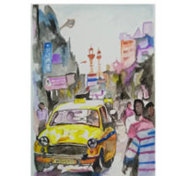 oh! calcutta, 12 x 16 inch, rajinder koul,12x16inch,thick paper,abstract paintings,landscape paintings,modern art paintings,nature paintings | scenery paintings,paintings for dining room,paintings for living room,paintings for bedroom,paintings for office,paintings for hotel,paintings for dining room,paintings for living room,paintings for bedroom,paintings for office,paintings for hotel,watercolor,paper,GAL01404539686