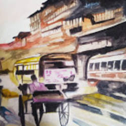 city rush, 12 x 16 inch, rajinder koul,12x16inch,thick paper,paintings,abstract paintings,cityscape paintings,landscape paintings,modern art paintings,still life paintings,nature paintings | scenery paintings,photorealism paintings,photorealism,portraiture,realism paintings,paintings for living room,paintings for bedroom,paintings for office,paintings for bathroom,paintings for hotel,paintings for school,paintings for hospital,watercolor,paper,GAL01404539699