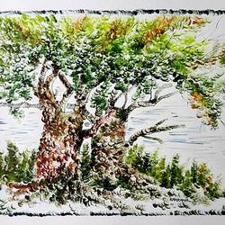 the nature 22, 35 x 28 inch, kankana  pal,nature paintings,paintings for living room,paper,mixed media,35x28inch,GAL08333970Nature,environment,Beauty,scenery,greenery,trees,beautiful