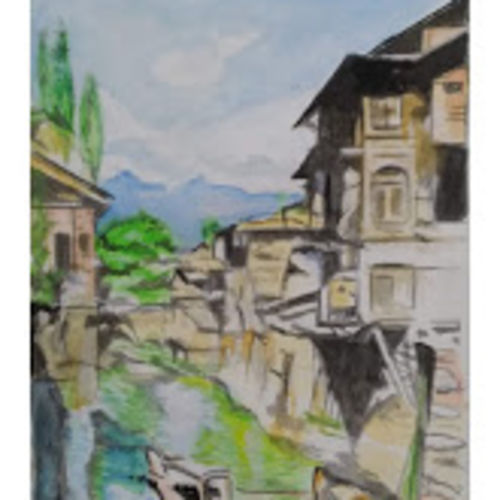 river homes, 12 x 16 inch, rajinder koul,12x16inch,thick paper,paintings,cityscape paintings,landscape paintings,nature paintings | scenery paintings,contemporary paintings,realistic paintings,paintings for dining room,paintings for living room,paintings for bedroom,paintings for office,paintings for bathroom,paintings for hotel,paintings for school,paintings for hospital,watercolor,paper,GAL01404539704