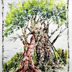 the nature 23, 28 x 35 inch, kankana  pal,nature paintings,paintings for living room,paper,mixed media,28x35inch,GAL08333971Nature,environment,Beauty,scenery,greenery