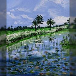 bengal in autumn , 10 x 12 inch, madhumita roy,10x12inch,canvas,paintings,nature paintings | scenery paintings,oil color,GAL02759239712