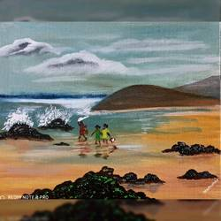 beach, 10 x 12 inch, madhumita roy,10x12inch,canvas,paintings,nature paintings | scenery paintings,oil color,GAL02759239713