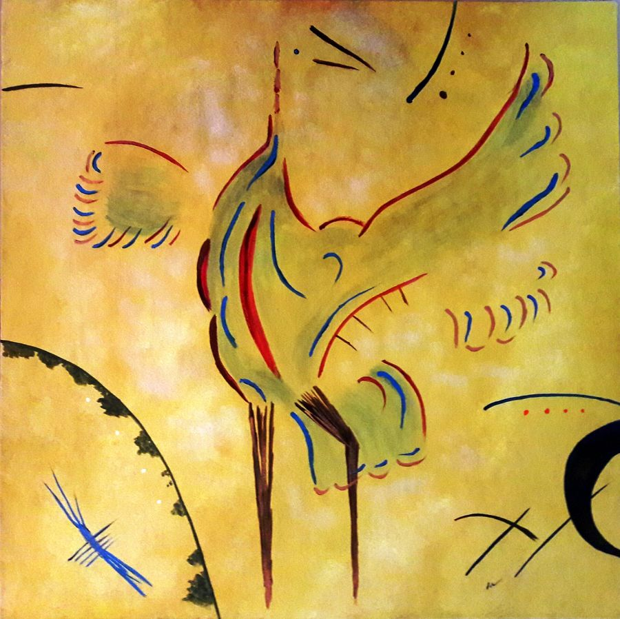 abstract art - bird - positive thought process, 24 x 24 inch, indhuja raghavan,abstract paintings,paintings for office,canvas board,acrylic color,24x24inch,GAL01103973