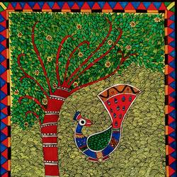 madhubani peacock dancing under tree, 11 x 13 inch, madhavi jha,11x13inch,drawing paper,paintings,wildlife paintings,folk art paintings,nature paintings | scenery paintings,animal paintings,madhubani paintings | madhubani art,paintings for dining room,paintings for living room,paintings for bedroom,paintings for office,paintings for bathroom,paintings for kids room,paintings for hotel,paintings for kitchen,paintings for school,paintings for hospital,acrylic color,GAL02713239730
