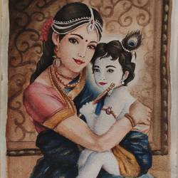 krishna with yashoda maiya, 8 x 12 inch, shrinidhi zangaruche,8x12inch,brustro watercolor paper,paintings,religious paintings,paintings for living room,watercolor,GAL02810039737