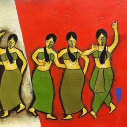 musical party , 32 x 13 inch, chetan katigar,figurative paintings,paintings for living room,canvas,mixed media,32x13inch,GAL02663974