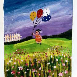 girl with baloon under blue sky in flower garden, 11 x 13 inch, madhavi jha,11x13inch,drawing paper,paintings,flower paintings,nature paintings | scenery paintings,baby paintings,paintings for dining room,paintings for living room,paintings for bedroom,paintings for office,paintings for bathroom,paintings for kids room,paintings for hotel,paintings for kitchen,paintings for school,paintings for hospital,acrylic color,GAL02713239741