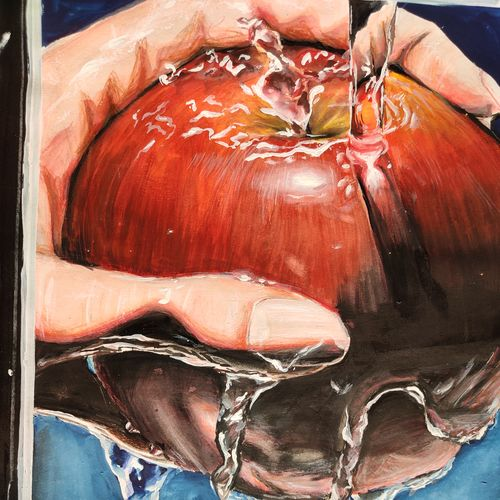 fresh apple, 12 x 16 inch, shrinidhi zangaruche,12x16inch,thick paper,paintings,figurative paintings,still life paintings,nature paintings | scenery paintings,impressionist paintings,photorealism paintings,photorealism,realism paintings,realistic paintings,paintings for dining room,paintings for bedroom,paintings for bathroom,paintings for kids room,paintings for hotel,paintings for kitchen,paintings for school,paintings for hospital,paintings for dining room,paintings for bedroom,paintings for bathroom,paintings for kids room,paintings for hotel,paintings for kitchen,paintings for school,paintings for hospital,acrylic color,mixed media,pencil color,poster color,watercolor,GAL02810039743