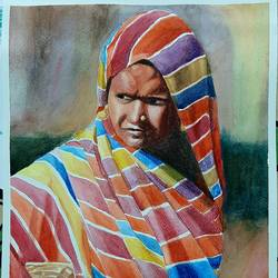 a lady hawker , 12 x 17 inch, mintu kumar  mahato ,12x17inch,handmade paper,paintings,portrait paintings,paintings for dining room,paintings for living room,paintings for bedroom,paintings for hotel,paintings for school,paintings for dining room,paintings for living room,paintings for bedroom,paintings for hotel,paintings for school,watercolor,GAL02811439744