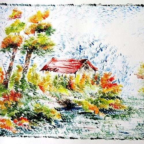 the nature 25, 35 x 28 inch, kankana  pal,nature paintings,paintings for living room,paper,mixed media,35x28inch,GAL08333975Nature,environment,Beauty,scenery,greenery