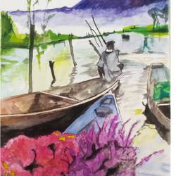 flower boat, 12 x 16 inch, rajinder koul,12x16inch,thick paper,paintings,abstract paintings,landscape paintings,still life paintings,nature paintings | scenery paintings,photorealism paintings,photorealism,realism paintings,surrealism paintings,realistic paintings,paintings for dining room,paintings for living room,paintings for bedroom,paintings for bathroom,paintings for hotel,paintings for kitchen,watercolor,paper,GAL01404539752