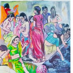 bathing ghat, 22 x 30 inch, rajinder koul,22x30inch,canvas,paintings,landscape paintings,conceptual paintings,nature paintings | scenery paintings,expressionism paintings,photorealism paintings,photorealism,portraiture,realism paintings,street art,contemporary paintings,paintings for dining room,paintings for living room,paintings for bedroom,paintings for office,paintings for bathroom,paintings for hotel,paintings for kitchen,paintings for school,paintings for hospital,acrylic color,GAL01404539753