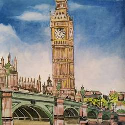 big ben, 22 x 30 inch, rajinder koul,22x30inch,canvas,paintings,cityscape paintings,landscape paintings,modern art paintings,still life paintings,nature paintings | scenery paintings,minimalist paintings,photorealism paintings,photorealism,realistic paintings,paintings for dining room,paintings for living room,paintings for bedroom,paintings for office,paintings for bathroom,paintings for hotel,paintings for kitchen,paintings for school,paintings for hospital,acrylic color,GAL01404539758