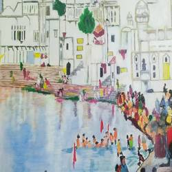 pushkar lake, 22 x 30 inch, rajinder koul,22x30inch,canvas,paintings,figurative paintings,cityscape paintings,landscape paintings,modern art paintings,conceptual paintings,religious paintings,still life paintings,portrait paintings,nature paintings | scenery paintings,illustration paintings,impressionist paintings,minimalist paintings,photorealism paintings,photorealism,paintings for dining room,paintings for living room,paintings for bedroom,paintings for kids room,paintings for hotel,paintings for kitchen,paintings for school,paintings for hospital,acrylic color,GAL01404539759