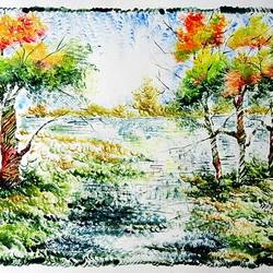 the nature 26, 35 x 28 inch, kankana  pal,nature paintings,paintings for living room,paper,mixed media,35x28inch,GAL08333976Nature,environment,Beauty,scenery,greenery