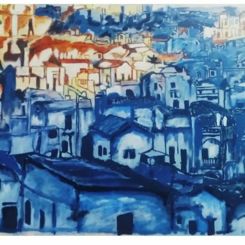 blue city, 30 x 22 inch, rajinder koul,30x22inch,canvas,paintings,abstract paintings,cityscape paintings,landscape paintings,nature paintings   scenery paintings,photorealism,paintings for dining room,paintings for living room,paintings for bedroom,paintings for office,paintings for bathroom,paintings for hotel,paintings for hospital,acrylic color,GAL01404539767
