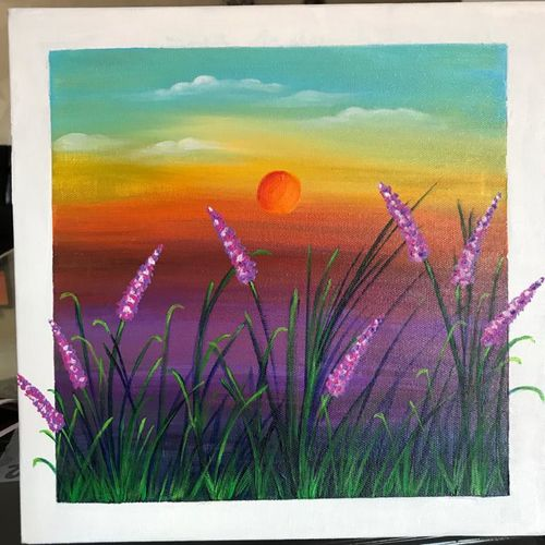 sunset at lavender fields, 12 x 12 inch, janhvi srivastava,12x12inch,canvas,paintings,wildlife paintings,flower paintings,modern art paintings,still life paintings,nature paintings | scenery paintings,art deco paintings,paintings for dining room,paintings for living room,paintings for bedroom,paintings for office,paintings for bathroom,paintings for kids room,paintings for hotel,paintings for kitchen,paintings for school,paintings for hospital,acrylic color,GAL02483839768