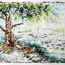 the nature 27, 35 x 28 inch, kankana  pal,nature paintings,paintings for living room,paper,mixed media,35x28inch,GAL08333977Nature,environment,Beauty,scenery,greenery