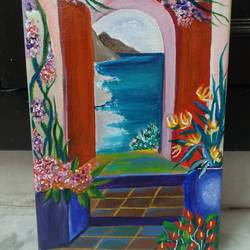 when i dream at office, 8 x 12 inch, deblina roy,8x12inch,canvas,paintings,landscape paintings,nature paintings | scenery paintings,paintings for dining room,paintings for living room,paintings for bedroom,paintings for office,paintings for kitchen,paintings for school,acrylic color,GAL02803739777
