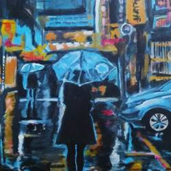 evening rain, 22 x 30 inch, rajinder koul,22x30inch,canvas,paintings,cityscape paintings,landscape paintings,modern art paintings,still life paintings,portrait paintings,nature paintings | scenery paintings,photorealism paintings,photorealism,realism paintings,paintings for dining room,paintings for living room,paintings for bedroom,paintings for office,paintings for bathroom,paintings for hotel,paintings for kitchen,paintings for school,paintings for hospital,acrylic color,GAL01404539782