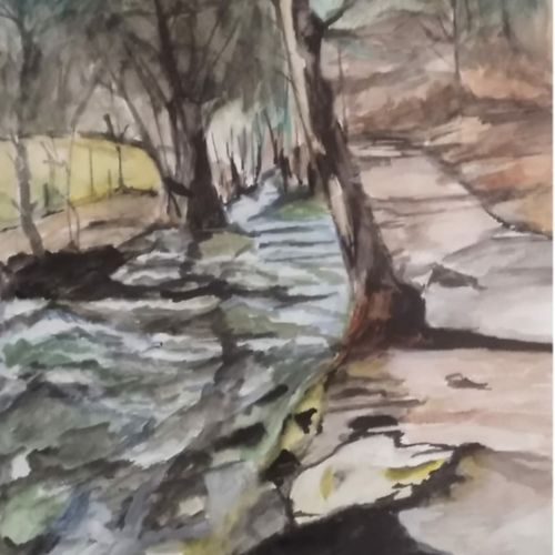 mountain stream, 12 x 16 inch, rajinder koul,12x16inch,thick paper,paintings,abstract paintings,wildlife paintings,landscape paintings,modern art paintings,conceptual paintings,portrait paintings,nature paintings | scenery paintings,photorealism paintings,realism paintings,paintings for dining room,paintings for living room,paintings for bedroom,paintings for office,paintings for bathroom,paintings for hotel,paintings for kitchen,paintings for school,paintings for hospital,watercolor,paper,GAL01404539784
