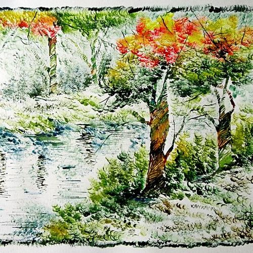 the nature 29, 35 x 28 inch, kankana  pal,nature paintings,paintings for living room,paper,mixed media,35x28inch,GAL08333979Nature,environment,Beauty,scenery,greenery,ice,snow,mountain,trees,leaves