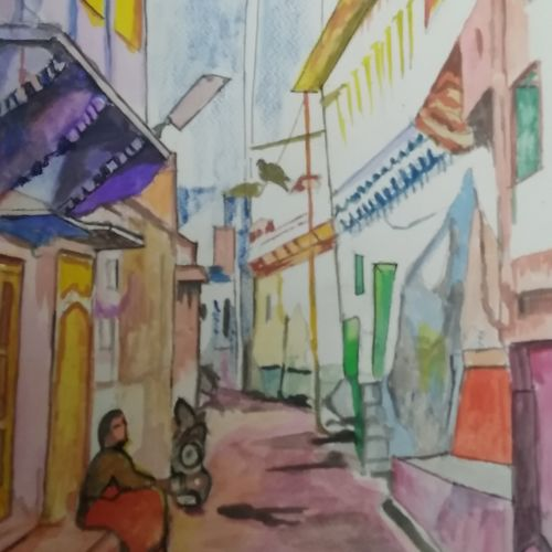 the street, 12 x 16 inch, rajinder koul,12x16inch,thick paper,paintings,abstract paintings,landscape paintings,modern art paintings,nature paintings | scenery paintings,impressionist paintings,realism paintings,street art,paintings for dining room,paintings for living room,paintings for bedroom,paintings for bathroom,paintings for hotel,paintings for kitchen,paintings for school,paintings for hospital,watercolor,paper,GAL01404539800