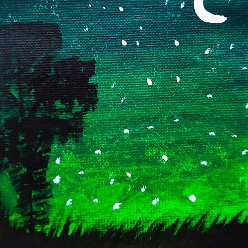green night sky landscape painting, 6 x 8 inch, shruti vishnoi,6x8inch,canvas,paintings,landscape paintings,nature paintings | scenery paintings,paintings for dining room,paintings for living room,paintings for bedroom,paintings for office,paintings for bathroom,paintings for kids room,paintings for hotel,paintings for kitchen,paintings for school,paintings for hospital,acrylic color,GAL02800639805