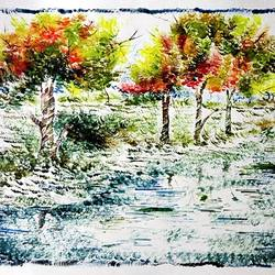 the nature 31, 35 x 28 inch, kankana  pal,nature paintings,paintings for living room,paper,mixed media,35x28inch,GAL08333981Nature,environment,Beauty,scenery,greenery,ice,snow,mountain,trees,leaves