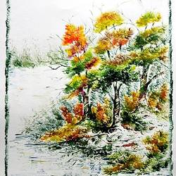 the nature 32, 28 x 35 inch, kankana  pal,nature paintings,paintings for living room,paper,mixed media,28x35inch,GAL08333982Nature,environment,Beauty,scenery,greenery,ice,snow,mountain,trees,leaves