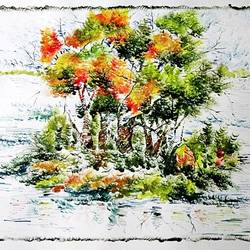 the nature 33, 35 x 28 inch, kankana  pal,nature paintings,paintings for living room,paintings for office,paper,mixed media,35x28inch,GAL08333983Nature,environment,Beauty,scenery,greenery,ice,snow,mountain,trees,leaves