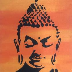 calming buddha, 8 x 12 inch, ruchi chandra verma,8x12inch,canvas,paintings,buddha paintings,paintings for dining room,paintings for living room,paintings for bedroom,paintings for office,paintings for kids room,acrylic color,GAL02794539839