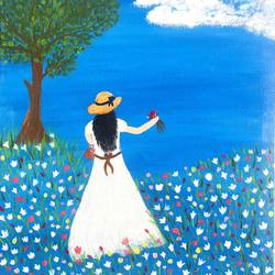 girl in the field, 12 x 16 inch, ruchi chandra verma,12x16inch,canvas,paintings,figurative paintings,landscape paintings,modern art paintings,surrealism paintings,paintings for living room,paintings for bedroom,paintings for kids room,acrylic color,GAL02794539840