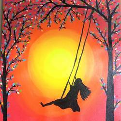 girl on swing, 12 x 16 inch, ruchi chandra verma,12x16inch,canvas,paintings,figurative paintings,landscape paintings,surrealism paintings,paintings for living room,paintings for bedroom,paintings for kids room,acrylic color,GAL02794539841