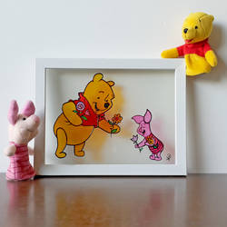 winnie the pooh, 7 x 9 inch, puja k,7x9inch,acrylic glass,paintings,baby paintings,children paintings,kids paintings,paintings for kids room,paintings for school,paintings for hospital,glass,GAL02756539843