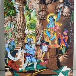 makhan choor krishna, 18 x 24 inch, anshul  agrawal ,18x24inch,canvas,paintings,religious paintings,radha krishna paintings,paintings for dining room,paintings for living room,paintings for bedroom,paintings for office,paintings for kids room,paintings for hotel,paintings for kitchen,paintings for school,paintings for hospital,acrylic color,GAL01997239858