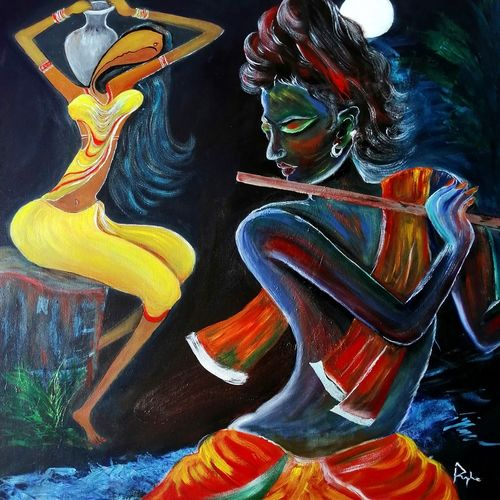 devotion, 24 x 30 inch, pushpa nath jha,24x30inch,canvas,paintings,figurative paintings,conceptual paintings,religious paintings,acrylic color,GAL01805639859