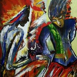 introspection, 24 x 30 inch, pushpa nath jha,24x30inch,canvas,paintings,abstract paintings,figurative paintings,paintings for dining room,paintings for living room,acrylic color,GAL01805639864