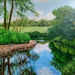 shallow water, 24 x 18 inch, pushpendra singh mandloi,24x18inch,hardboard,paintings,landscape paintings,nature paintings | scenery paintings,paintings for dining room,paintings for living room,oil color,GAL0726239877