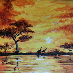 african sunset, 10 x 12 inch, simran solkar,10x12inch,canvas,paintings,wildlife paintings,landscape paintings,nature paintings | scenery paintings,paintings for dining room,paintings for living room,paintings for bedroom,paintings for office,acrylic color,GAL02750639880