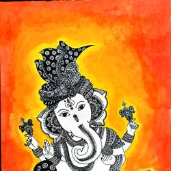 ganesha mandala, 8 x 12 inch, pooja jain,8x12inch,paper,paintings,modern art paintings,religious paintings,ganesha paintings | lord ganesh paintings,ink color,poster color,ball point pen,paper,GAL02820439887