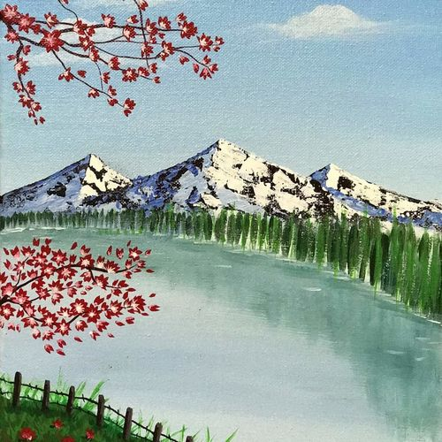 snow capped mountains, 10 x 12 inch, sangeeta bhargava,10x12inch,canvas,paintings,landscape paintings,nature paintings   scenery paintings,paintings for dining room,paintings for living room,paintings for bedroom,paintings for office,paintings for hotel,paintings for hospital,acrylic color,GAL02824739896