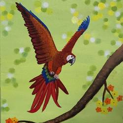 a flying macaw, 10 x 12 inch, sangeeta bhargava,10x12inch,canvas,paintings,wildlife paintings,animal paintings,paintings for dining room,paintings for living room,paintings for bedroom,paintings for office,paintings for kids room,paintings for hotel,paintings for school,paintings for hospital,acrylic color,GAL02824739897