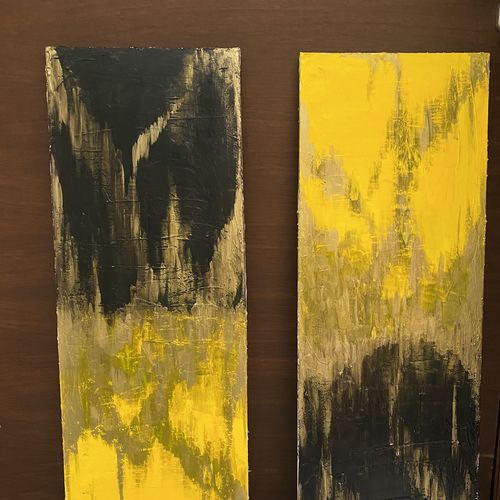 yellow is the new black, 12 x 36 inch, rishika shah,12x36inch,canvas,paintings,abstract paintings,paintings for dining room,paintings for living room,paintings for bedroom,paintings for bathroom,paintings for hotel,acrylic color,mixed media,GAL02808639902
