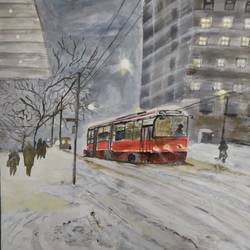 snowy city, 15 x 11 inch, pinki saha,15x11inch,drawing paper,paintings,cityscape paintings,landscape paintings,nature paintings | scenery paintings,acrylic color,paper,GAL02786539905